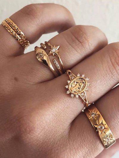 Seven-piece Rhinestone Sun Ring Suit - Gold