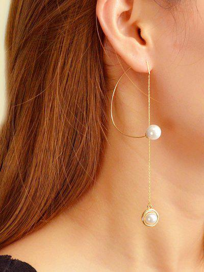 Single Faux Pearl Long Chain Earrings - Gold