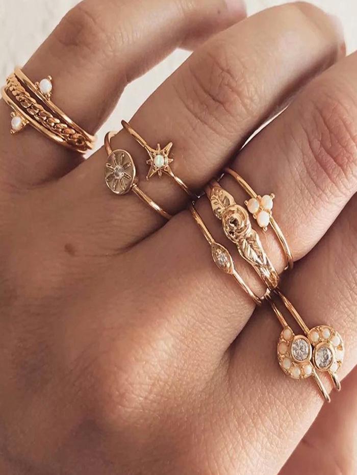 Retro Ten-piece Rhinestone Star Flower Ring Suit фото