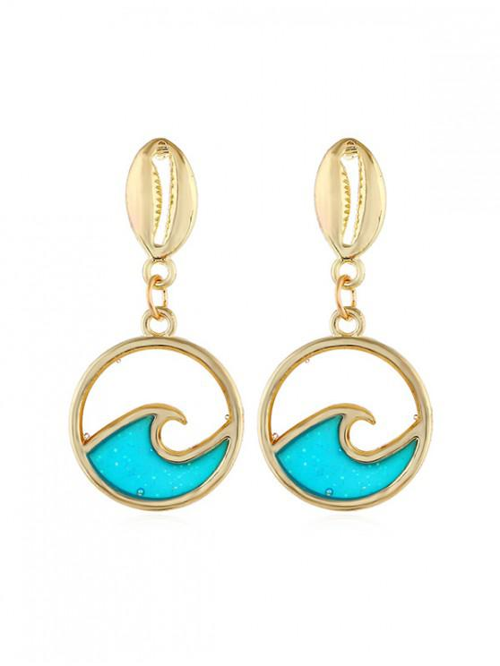 outfits Sea Wave Round Shell Drop Earrings - GOLD