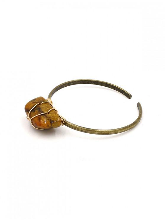 outfit Brief Faux Gemstone Open Bracelet - COFFEE
