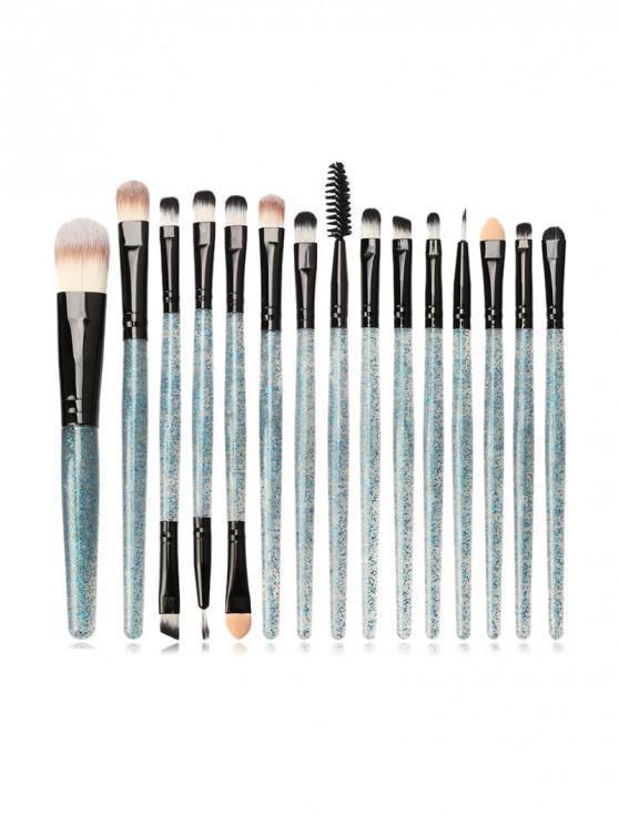 fashion 15Pcs Glitter Makeup Powder Brush - MACAW BLUE GREEN