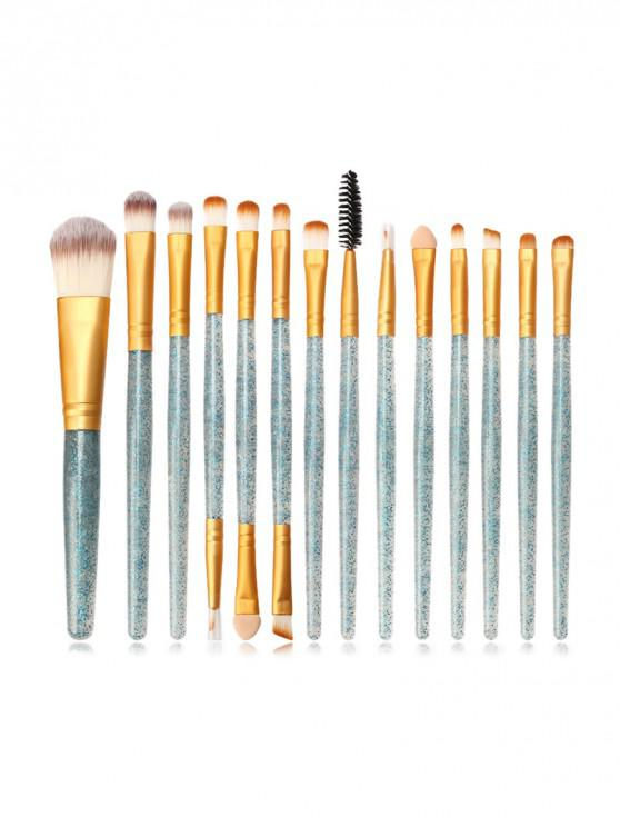 fancy 15Pcs Glitter Makeup Powder Brush - MEDIUM TURQUOISE