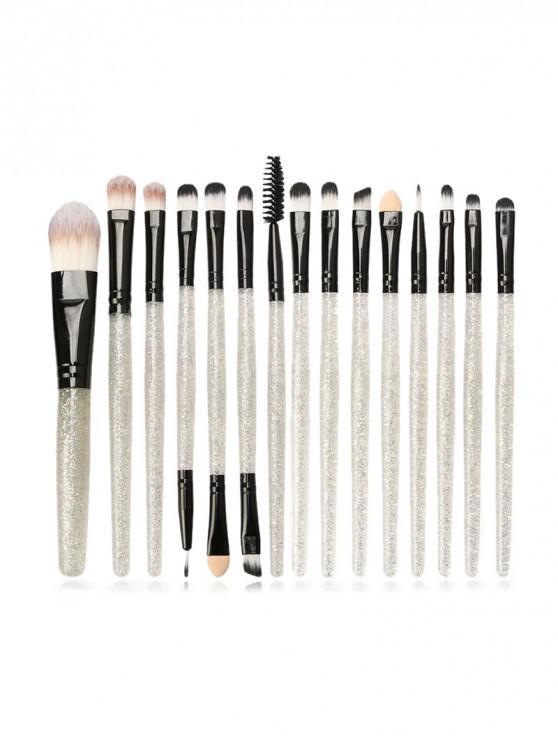women's 15Pcs Glitter Makeup Powder Brush - BLACK