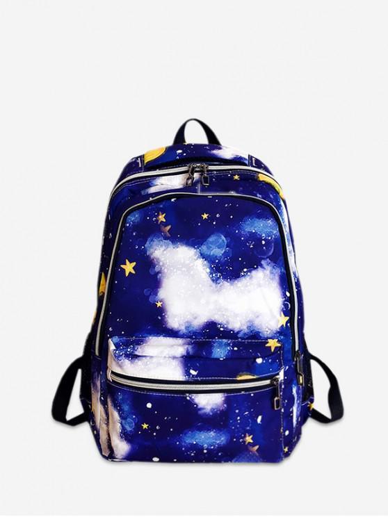 ladies Galaxy Pattern Casual Backpack - COBALT BLUE