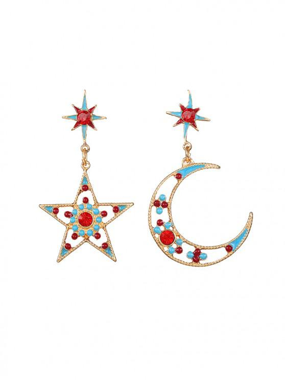 affordable Hollow Star Moon Rhinestone Drop Earrings - MULTI-A