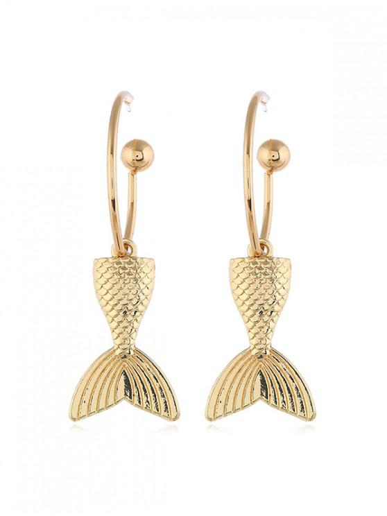 women Mermaid Fishtail Alloy Hoop Earrings - GOLD