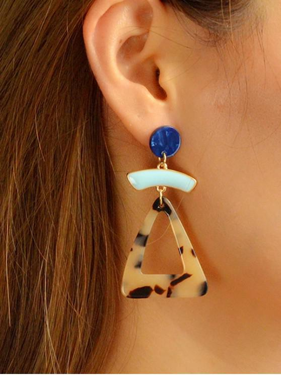 ladies Triangle Hollow Round Drop Earrings - CAMEL BROWN