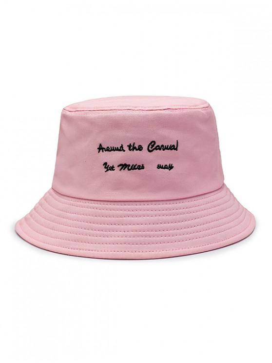 women Character Embroidered Bucket Hat - LIGHT PINK