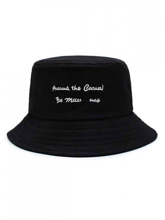 women's Character Embroidered Bucket Hat - BLACK