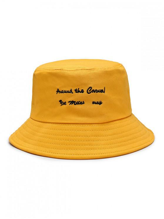 latest Character Embroidered Bucket Hat - YELLOW