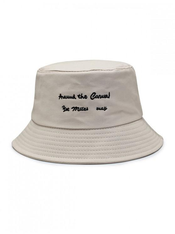 fashion Character Embroidered Bucket Hat - BEIGE