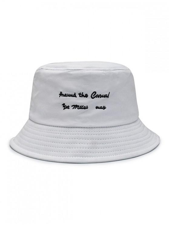 chic Character Embroidered Bucket Hat - WHITE