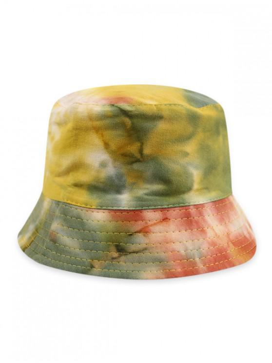 fancy Gradient Tie Dye Double Face Bucket Hat - GREEN PEAS