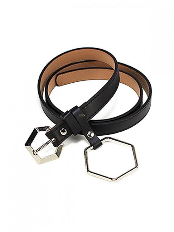 Cintura con fibbia a ciondolo esagonale - Nero