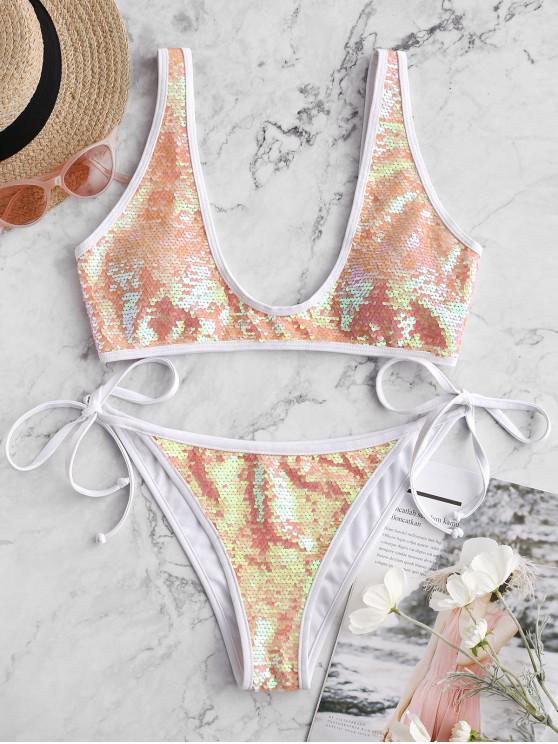 hot ZAFUL Contrast Piping Tie Side Sequin Bikini Swimsuit - MULTI-A M