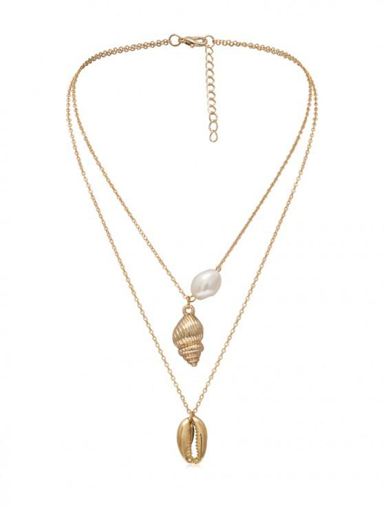 unique Faux Pearl Shell Conch Layered Necklace - GOLD