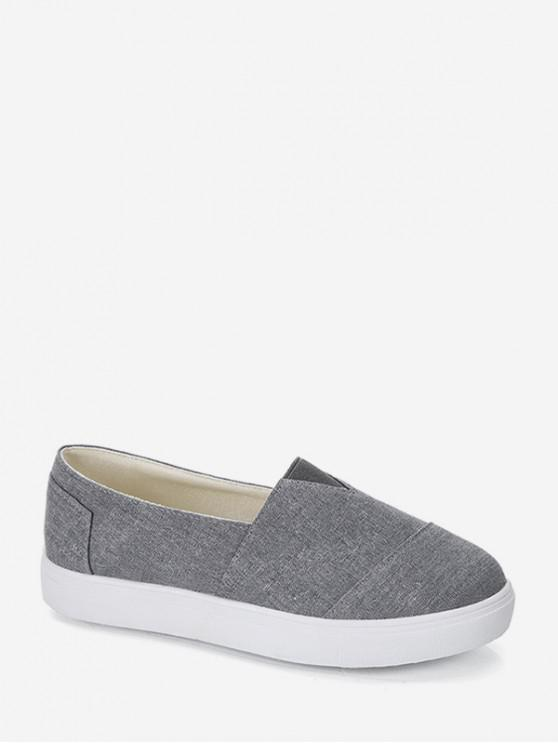 women Casual Canvas Loafer Shoes - GRAY EU 43