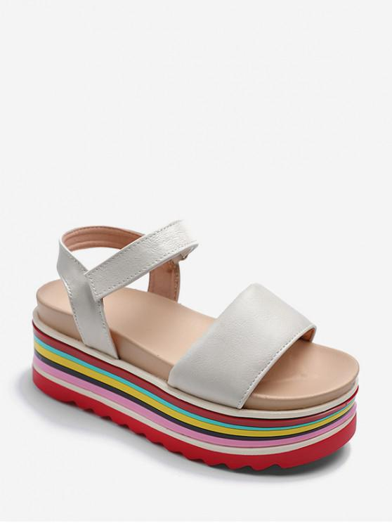 womens Rainbow Color Platform Open Toe Sandals - BEIGE EU 39