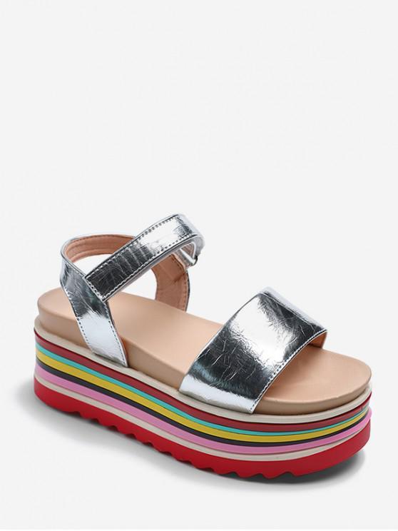 hot Rainbow Color Platform Open Toe Sandals - SILVER EU 35