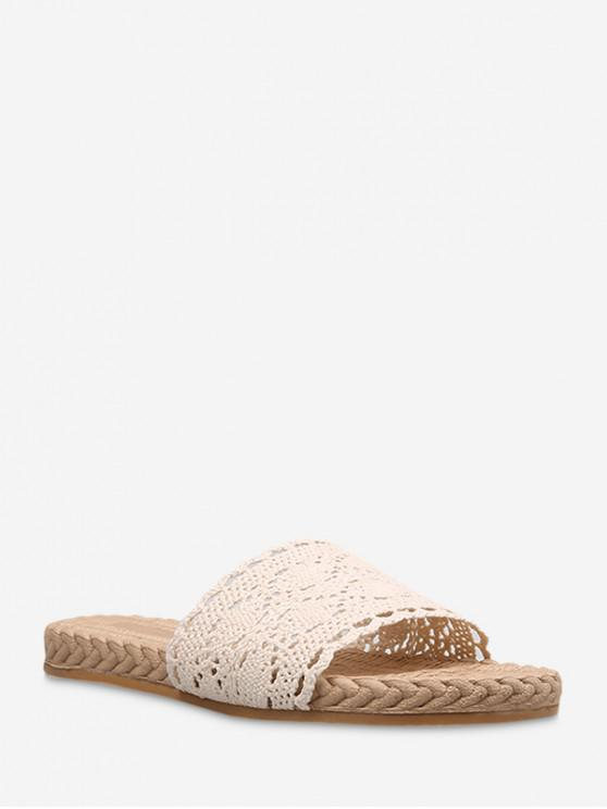 outfit Geometric Crochet Flat Outdoor Slippers - BEIGE EU 36