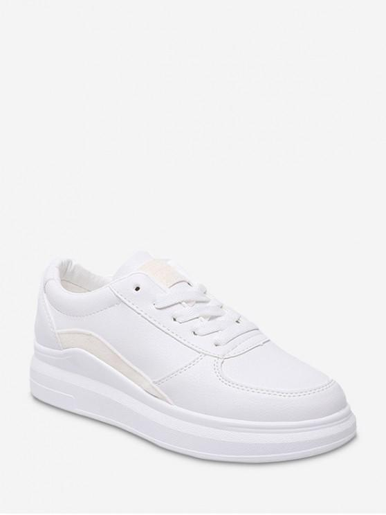 Chaussures de Skate à Ourlet Contrasté en Cuir PU - Blanc EU 36