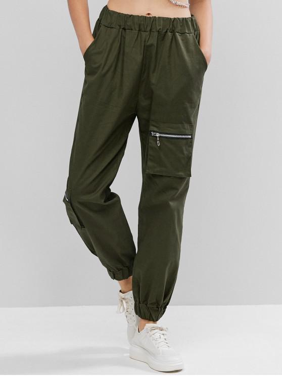 fancy High Waisted Zipper Pocket Jogger Pants - HAZEL GREEN M