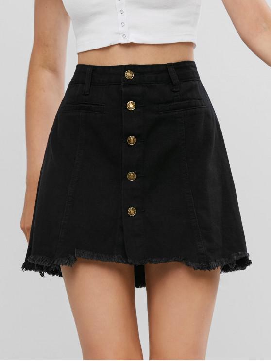 latest Frayed Hem Denim Button Up Skirt - BLACK XL
