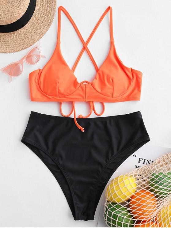 ZAFUL تتقاطع Underwired نيون بيكيني ملابس السباحة - برتقالي قاتم L