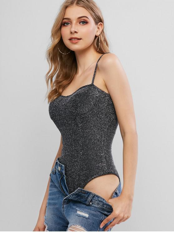 womens Padded Metallic Thread Glittery Cami Bodysuit - BLACK L