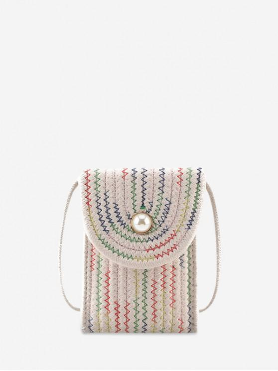 online Flap Rectangle Mini Crossbody Bag - WHITE