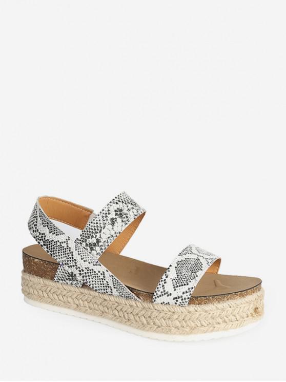 trendy Slip On Rome Platform Espadrille Sandals - GREEN SNAKE EU 40