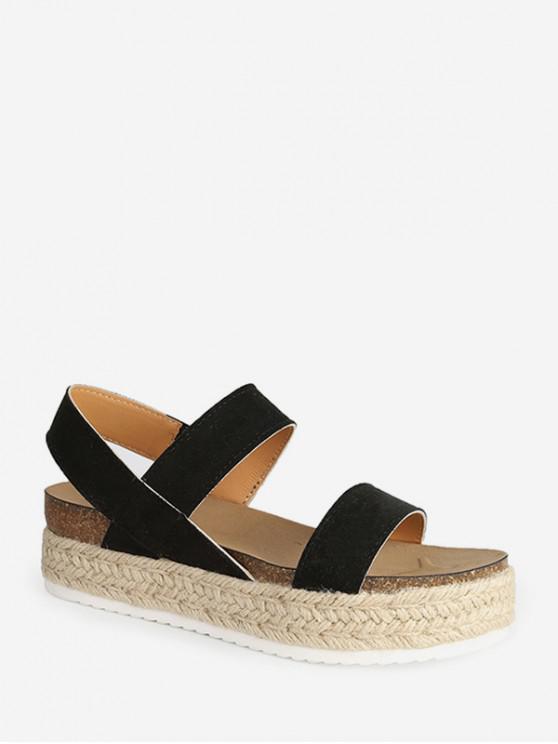 women's Slip On Rome Platform Espadrille Sandals - BLACK EU 36