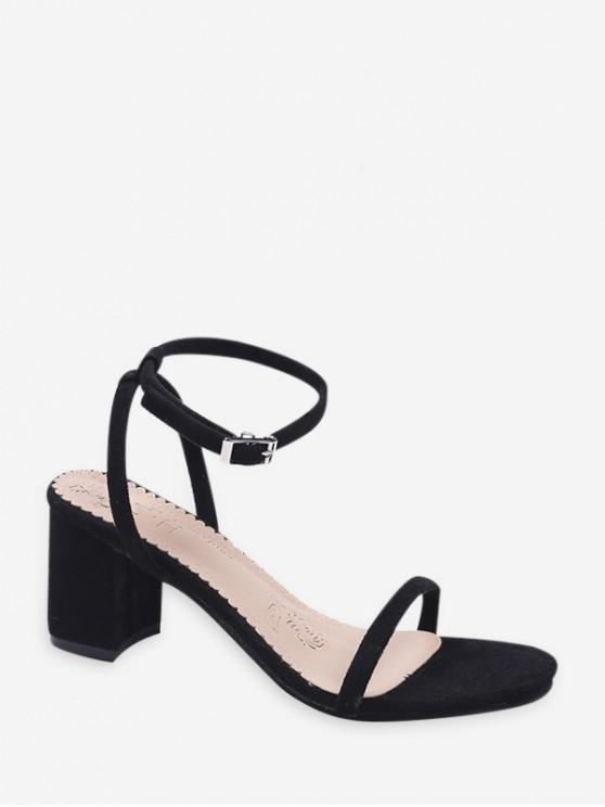 outfits Thin Ankle Strap Block Heel Suede Sandals - BLACK EU 38