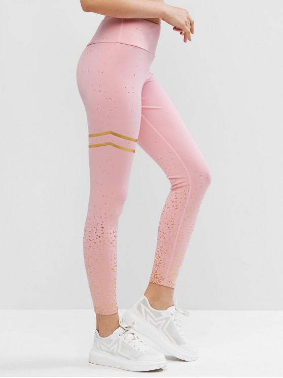 new Foil Print High Waisted Yoga Gym Leggings - DEEP PEACH S