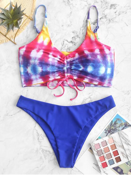 ZAFUL Costume da bagno bikini con coppe tinte a coste color arcobaleno - Multi Colori-A L