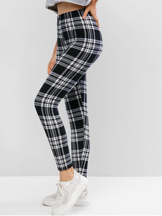 lady High Waisted Pull On Plaid Leggings - MULTI ONE SIZE