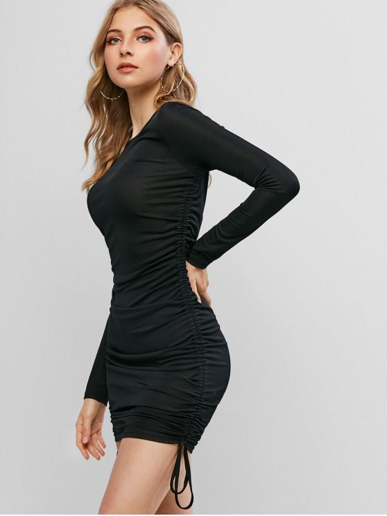 affordable ZAFUL Long Sleeve Ribbed Cinched Bodycon Dress - BLACK S