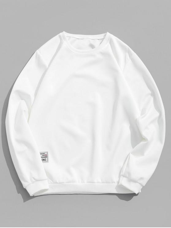 shop Applique Solid Color Casual Sweatshirt - WHITE M