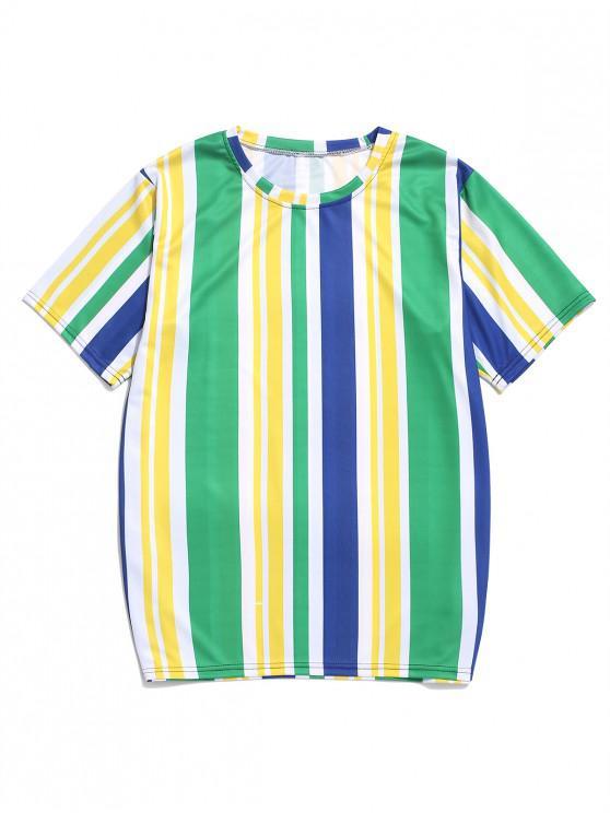 T-shirt de férias de manga curta impressão Colorblock listrado bandeira brasileira - Milho Amarelo M