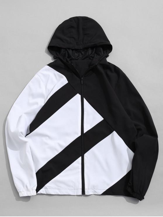 Chaqueta con capucha de rayas de color bloque casual - Negro XL