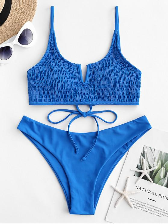 sale ZAFUL V-notch Tie Smocked Bikini Swimsuit - BLUEBERRY BLUE L