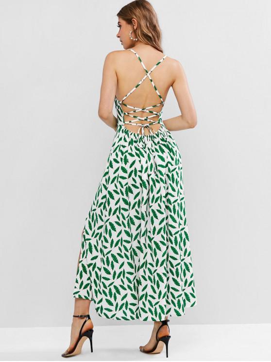 shops Leaves Print Lace Up Slit Cami Dress - MULTI-A S