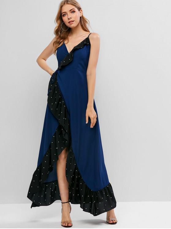 women ZAFUL Flounce Polka Dot Maxi Cami Wrap Dress - DEEP BLUE L