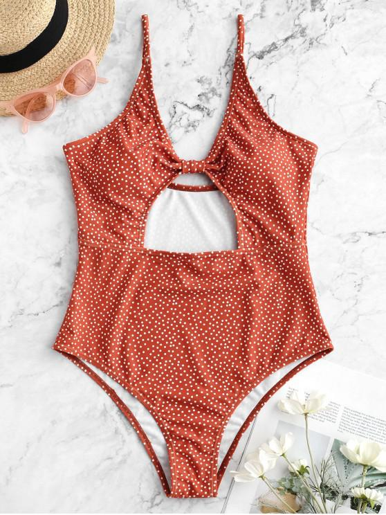 affordable ZAFUL Cutout Knot Polka Dot One-piece Swimsuit - CHOCOLATE M