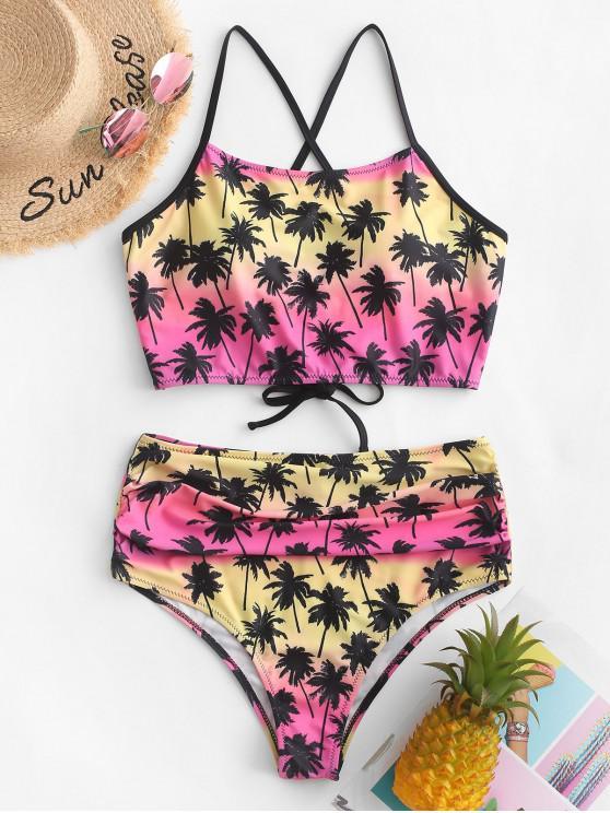 ZAFUL Kokosnuss-Baum - Bikini mit Gekreuzten Rüschen mit Schnürung - Multi-B M