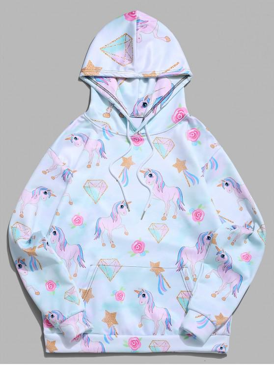 Felpa casual con cappuccio e tasca a forma di canguro con stampa a stelle di diamante unicorno - Ardesia Leggera 2XL