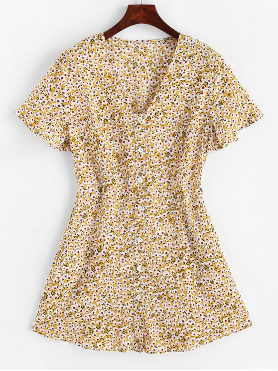 Mini abito con bottoni floreali e tasche a filetto ZAFUL - Fiore Giallo M