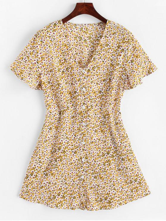 Mini vestido con botones y botones florales de ZAFUL Seam - Vara de Oro L