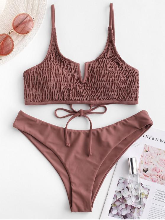 lady ZAFUL V-notch Tie Smocked Bikini Swimsuit - PUCE S
